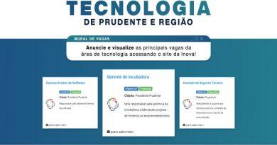 Site da Inova Prudente disponibiliza mural para anúncios de emprego no setor de tecnologia